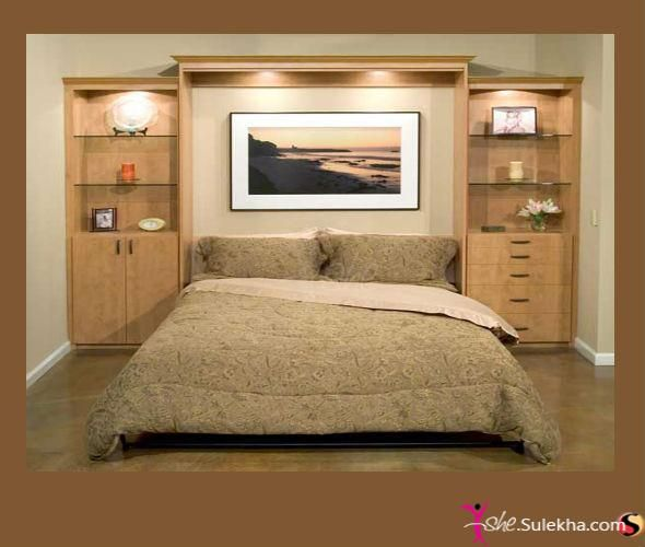 Awesome headboard wall unit idea bedroom murphy bed plans murphy bed bed Small wall cabinets for bedroom