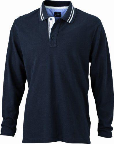James & Nicholson Herren Poloshirt Men's Long Sleeve, black off-white, 3XL, JN968 blow