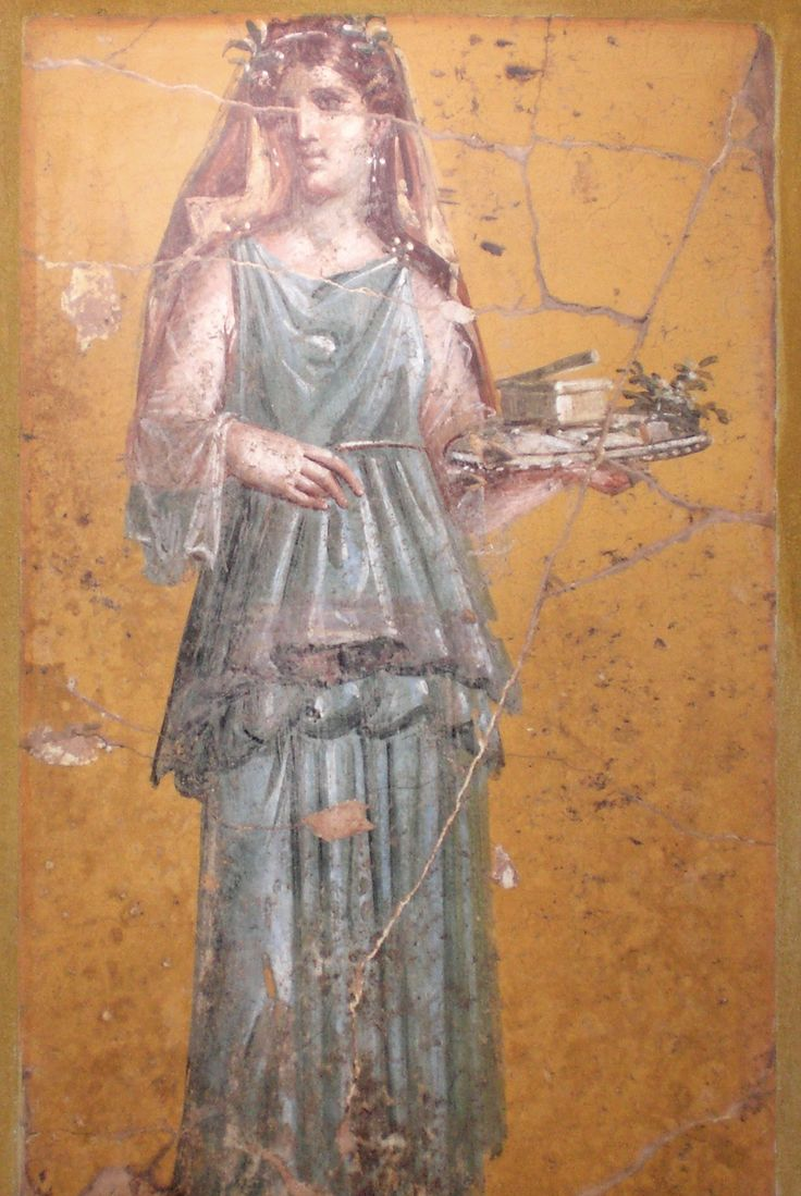 """""""Fresco of woman with tray in Villa San Marco of Stabiae."""" Roman woman wearing a stola."""