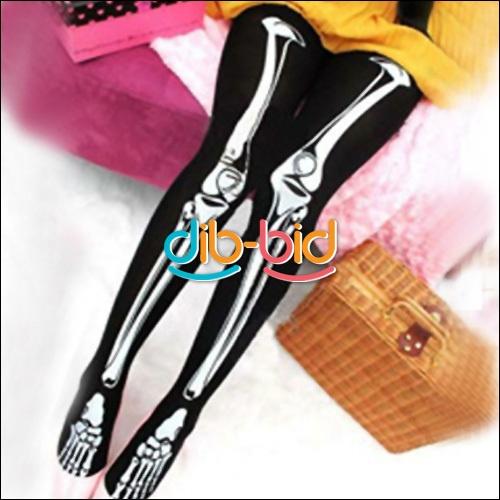 Halloween Skeleton Bone Printed Pants Tights Pantyhose Leggings Lady Stockings | eBay $10