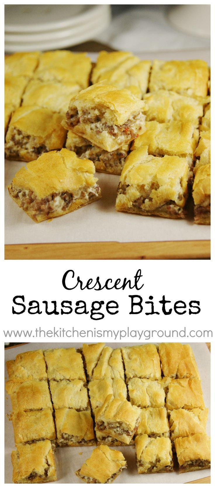 Crescent Sausage Bites ~ 3-ingredient super simple party favorite! www.thekitchenismyplayground.com