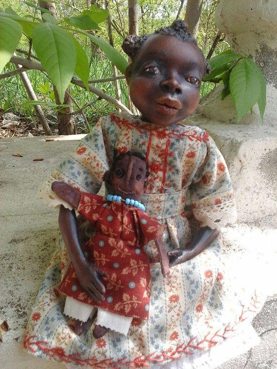 Art  doll  Brazilian girl Cordelia  OOAK  paperclay