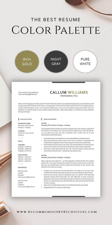Best color palette for professional resume modern cv