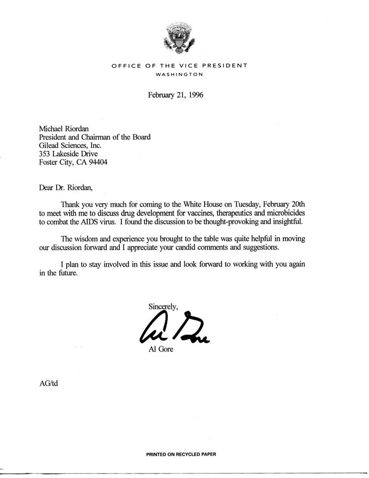 Letter from Vice President Al Gore to Michael L Riordan, Gilead - noc letter sample