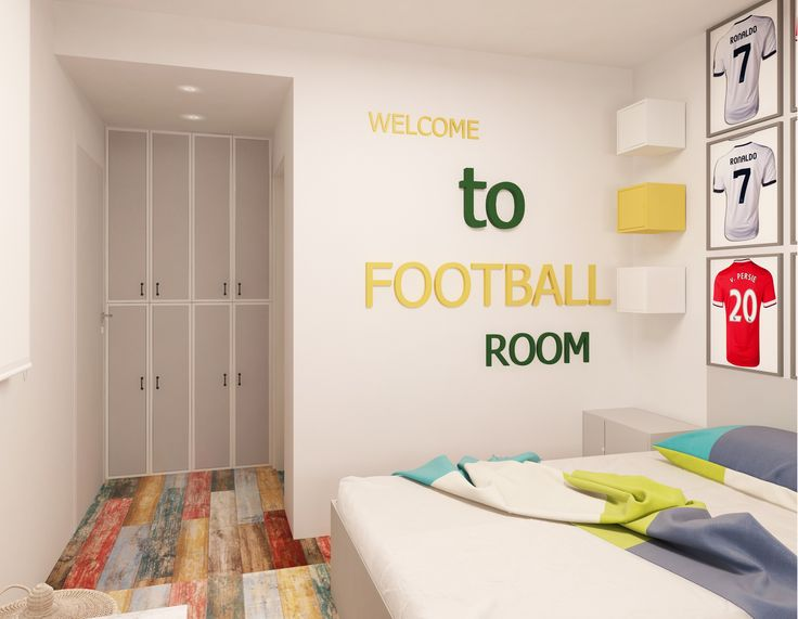 #interiordesign #cyan #bedroom #bed #whitesheets#beige #shelves #desk #cyansheets #inteiordesign #beige #wood #deco #yellow #closets #limeshade #grey #white #footballroom