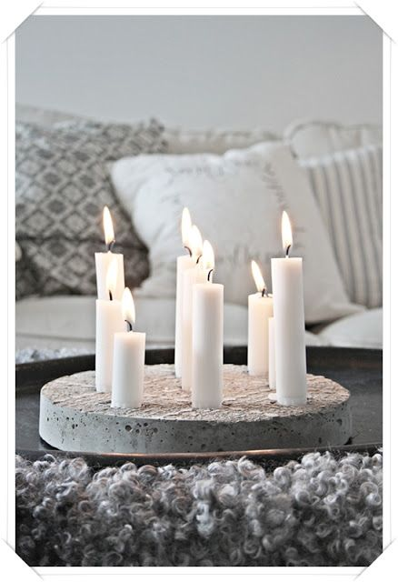 DIY concrete candle tray//