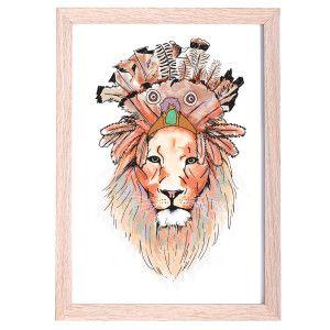 Cheif Lion Kids Art Print