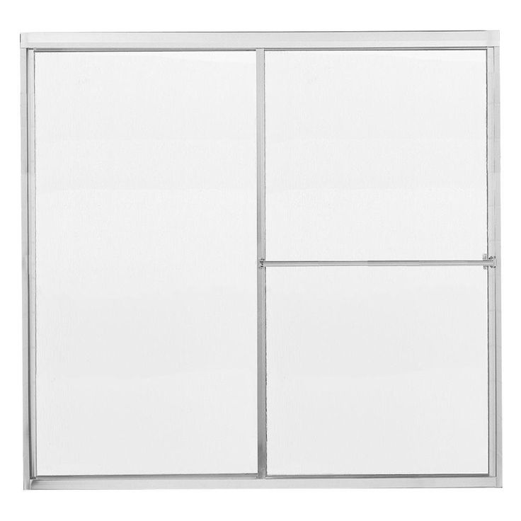 Contractors Wardrobe Model 1100 58-1/2 in. x 56-3/4 in. Framed Sliding Tub Door in Bright Clear with Rain Glass and Towel Bar