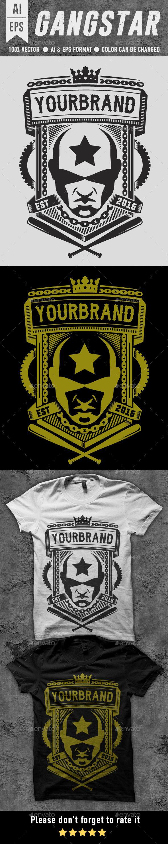 Shirt design template size - Gangstar T Shirt Design