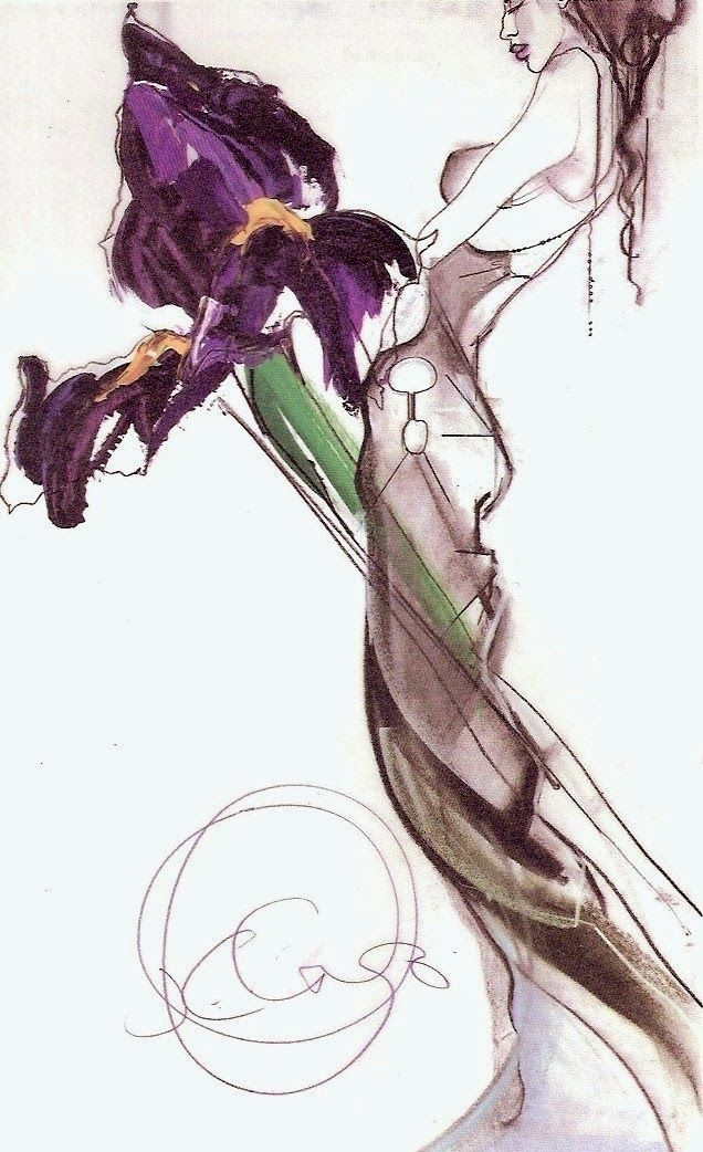 """Iris purple haze"" - Sketch from John Galliano .International Fashion Desk Diary by Shirley Kennedy. The dress is a collage of slashed silk chiffon  delicately caught with ivory seed beds to  produce a rough-cut diamond effect.  A generous train of chiffon displays  delicate shades of pinks, greys + blacks."