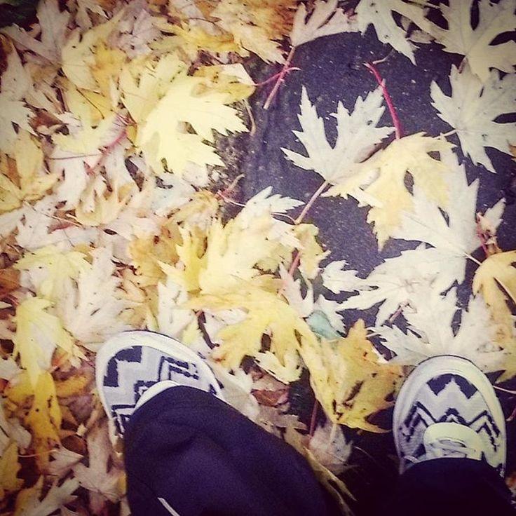 """""""Strój dnia. Ciekawe jak długo będą białe w takich warunkach,  mhm?  #whiteshoes #yellowleaves #white #shoes #yellow #leaves #autumn #jesień…"""""""