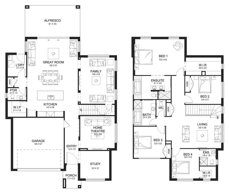 Allure 35   Double Level   Floorplan By Kurmond Homes   New Home Builders  Sydney NSW