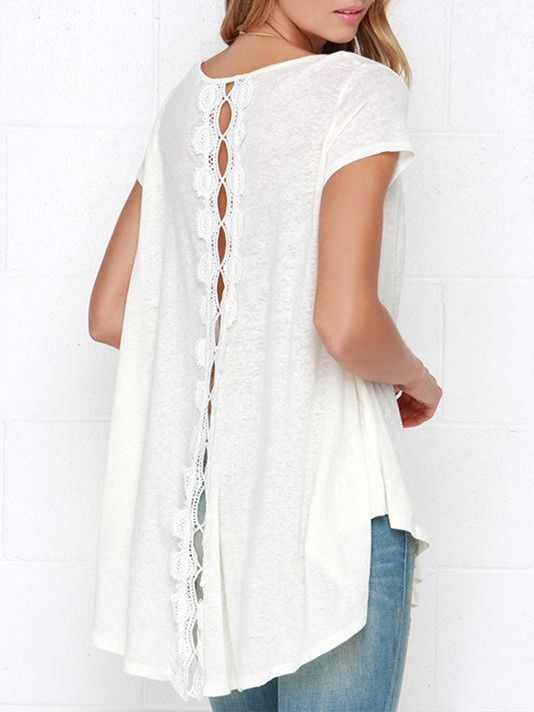 White Short Sleeve With Lace High Low T-shirt 9.99