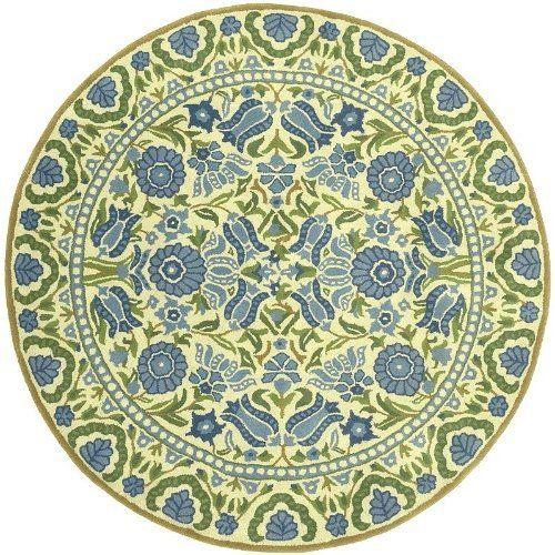 dazzle blue u0026 green floral 100 wool 3 round area rug