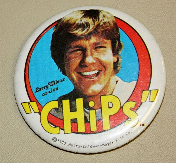 1980 Larry Wilcox as Jon Chips Pin Button by collectiblejewels, $5.00