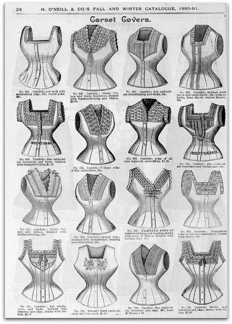 1890-91 Vintage Fashion: H.O'Neills Fall & Winter Catalogue Page 28 - Victorian Corset Covers by CharmaineZoe, via Flickr