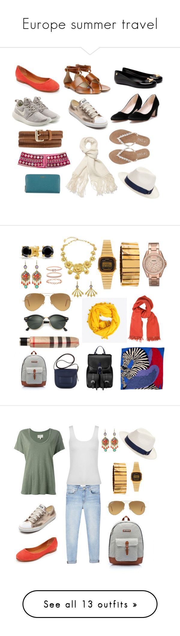Europe summer travel by maria-elisa-trost on Polyvore featuring polyvore, fashion, style, Frye, NIKE, Melissa, Michael Kors, Alexander McQueen, Witchery, Helmut Lang, Borsalino, Furla, M&Co, clothing, Aspinal of London, Hermès, Accessorize, Bohemia, Burberry, Ray-Ban, WithChic, FOSSIL, Carlo Zini, Casio, Bling Jewelry, Tory Burch, Lele Sadoughi, Cathy Waterman, MANGO, Current/Elliott, Oasis, J Brand, Frame, Missoni, R13, prAna, Yves Saint Laurent, Tom Ford, Gap, T By Alexander Wang, Armani…