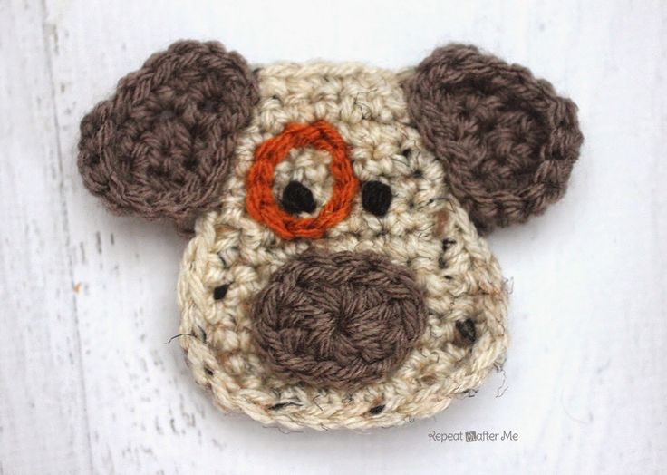 Repeat Crafter Me: D is for Dog: Crochet Dog Applique Tutorial ✿⊱╮Teresa Restegui http://www.pinterest.com/teretegui/✿⊱╮