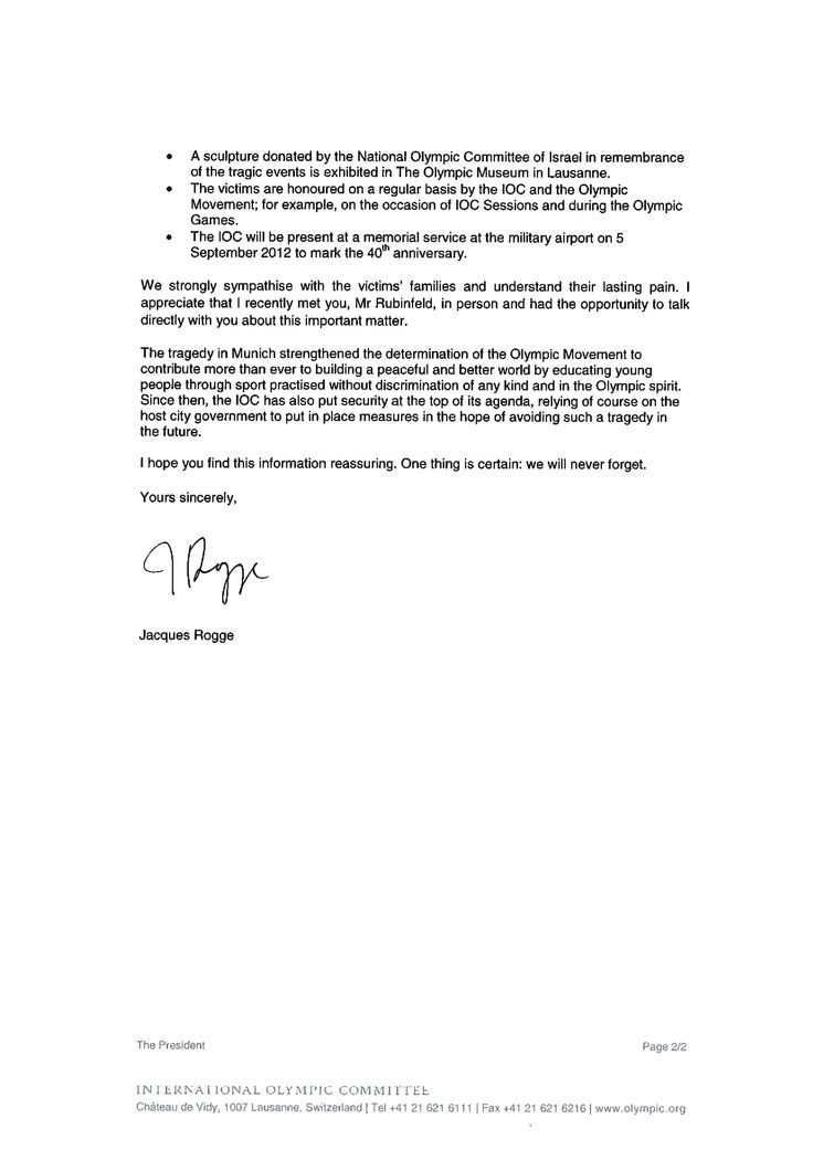 The Official Response Of IOC On EJP LetterOfficial Letter Business Letter Sample