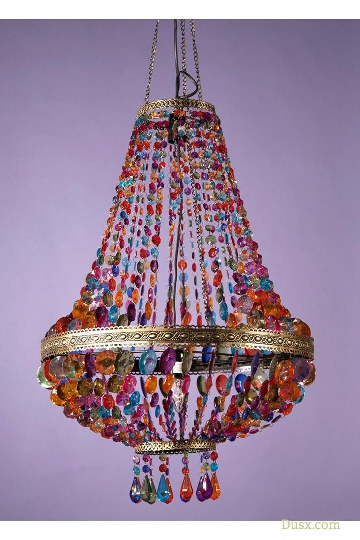 """Evoke a bohemian vibe with this hanging lamp style chandelier with multicoloured beads and antiqued gold finish. This stunning baroque-style 3 bulbed piece is a favourite of mine and would be a perfect addition to a Moroccan-style lounge or den accesorised with embroidered cushions and sweet scented incense.""""W50 x D50 x H100 cm"""