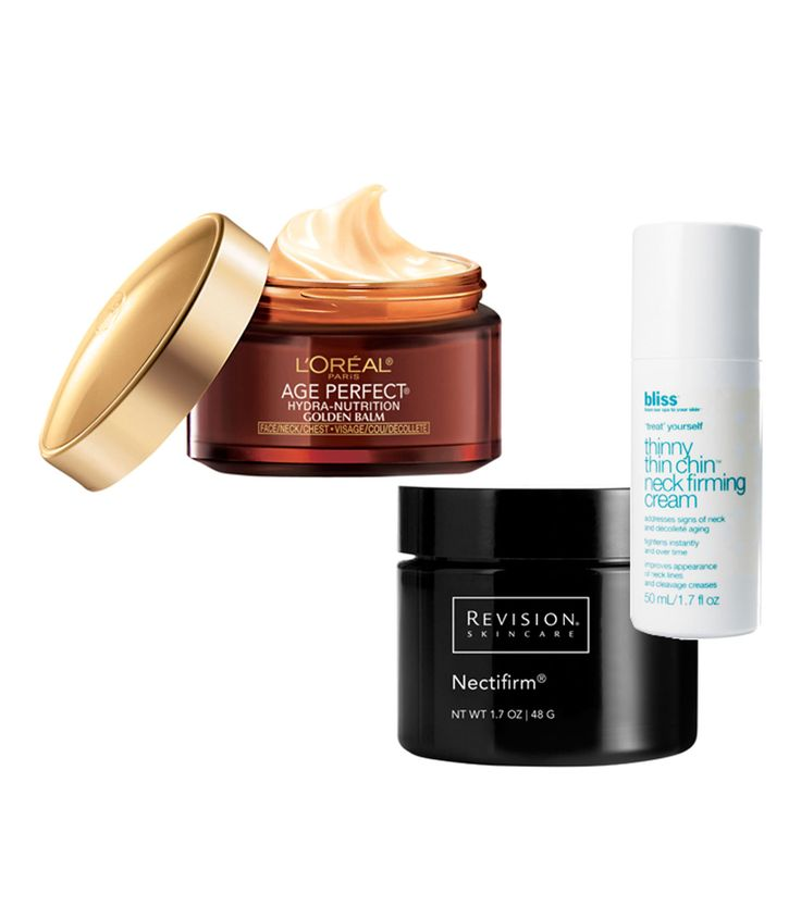 Three we love (from left): L'Oréal Paris Age Perfect Hydra-Nutrition Golden Balm Face Neck & Chest, $19.99, amazon.com; Revision Skincare Nectifirm, $65, amazon.com; and Bliss Thinny Thin Chin Neck Firming Cream, $48, amazon.com.
