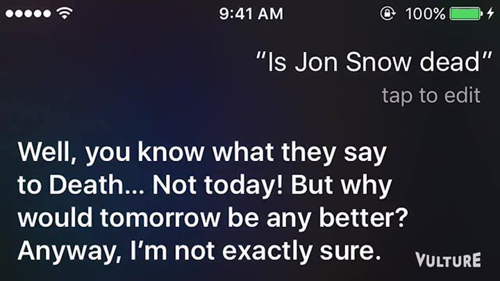 Siri has genius answers when you ask it about Game of Thrones #gameofthrones #gameofthronesseason6 #jonsnow #winteriscoming #winteriscomingonline
