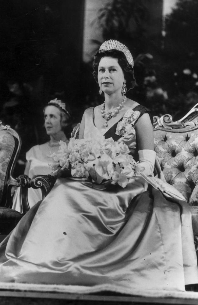 1963: Her Majesty attends a state reception at Government House, Melbourne. Picture: News Limited