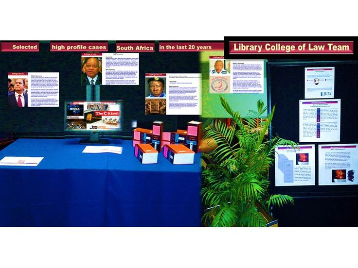 In the week of the 15th September 2014, the Library College Team for Law put on a display in the foyer of the Muckleneuk Library in Pretoria. The theme was: Selected High Profile Cases in South Africa in the last 20 Years. The display consisted of photographs, extracts from cases that received a lot of media attention and an explanation of the difference between reported and unreported cases. The display was also available as a slide show.