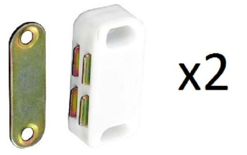 Magnetic-Catch-Cupboard-Door-Latch-White-Cabinet-Catch-Magnet-Strong-Small-x-2