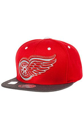 Mitchell & Ness Hat Detroit Red Wings Vintage XL Reflective 2-Tone Snapback in Red & Grey - Karmaloop.com
