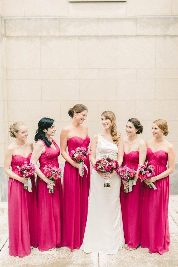 Fuchsia bridesmaid dresses: http://www.stylemepretty.com/2016/01/12/blogger-bride-politics-of-prettys-vintage-whimsical-greek-wedding-2/ | Photography: Elizabeth Fogarty - http://elizabethfogartyphotography.com/