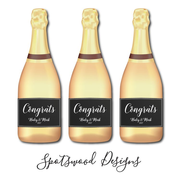 Congrats Mini Champagne Label. Mini Wine Label. Engagement Party Decorations. Engagement Party Favors. Engagement Gift. by SpotswoodDesigns on Etsy