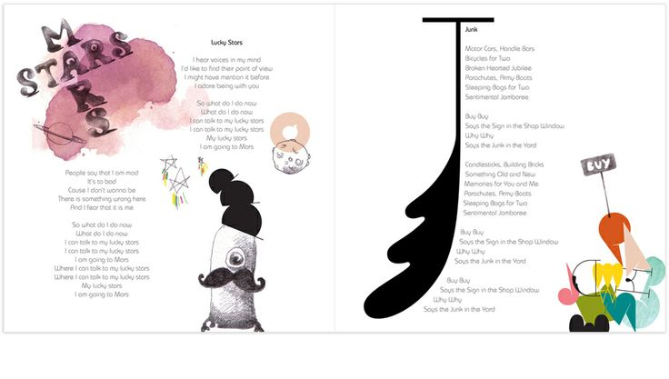 Illustration for tracks: 'Lucky Stars' and 'Junk' Album: Friendly Fools by Marjit Vinjerui