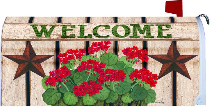 IAmEricas Flags - Welcome Barn Star and Geraniums Mailbox Cover, $22.00 (https://www.iamericasflags.com/welcome-barn-star-and-geraniums-mailbox-cover/)
