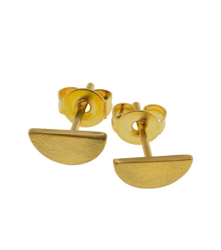 Crescent studs, matt gold  Size 10x20 mm