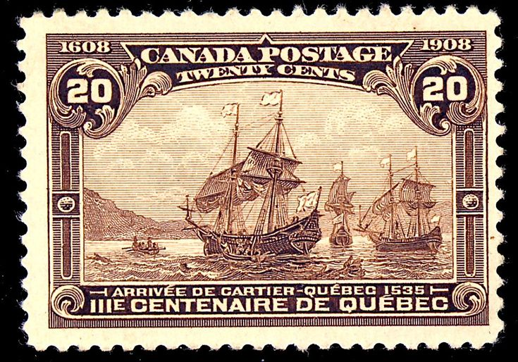 The Fleet of Cartier was commemorated on a 1908 Canadian postage stamp. Canada Post Office - Canada Post Office Photo obtained from eBay by Gwillhickers eBay item number : eBay item 220559615090