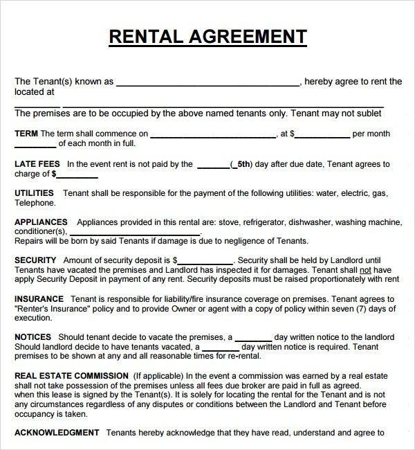 Download Free Basic Rental Agreement Template Every Last Template Free Download Rental Agreement Templates Lease Agreement Contract Template