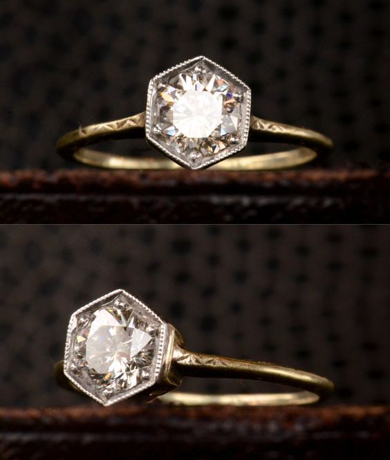 1920s Hexagonal Art Deco Engagement Ring with 0.72ct Transitional Cut Diamond (H/I VS1), Platinum and 14K Yellow Gold, $4500 (in the online shop):