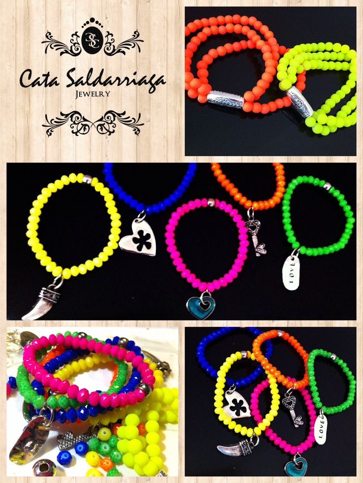 Crystal Neon Bracelets by Cata Saldarriaga Jewelry.
