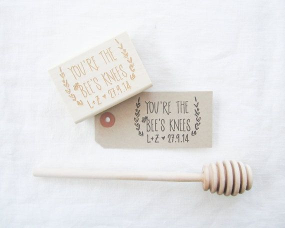 Personalized Wedding Favor Stamp - Hand lettered You're the Bees Knees - honey wedding favor stamp - honey favor - H0008