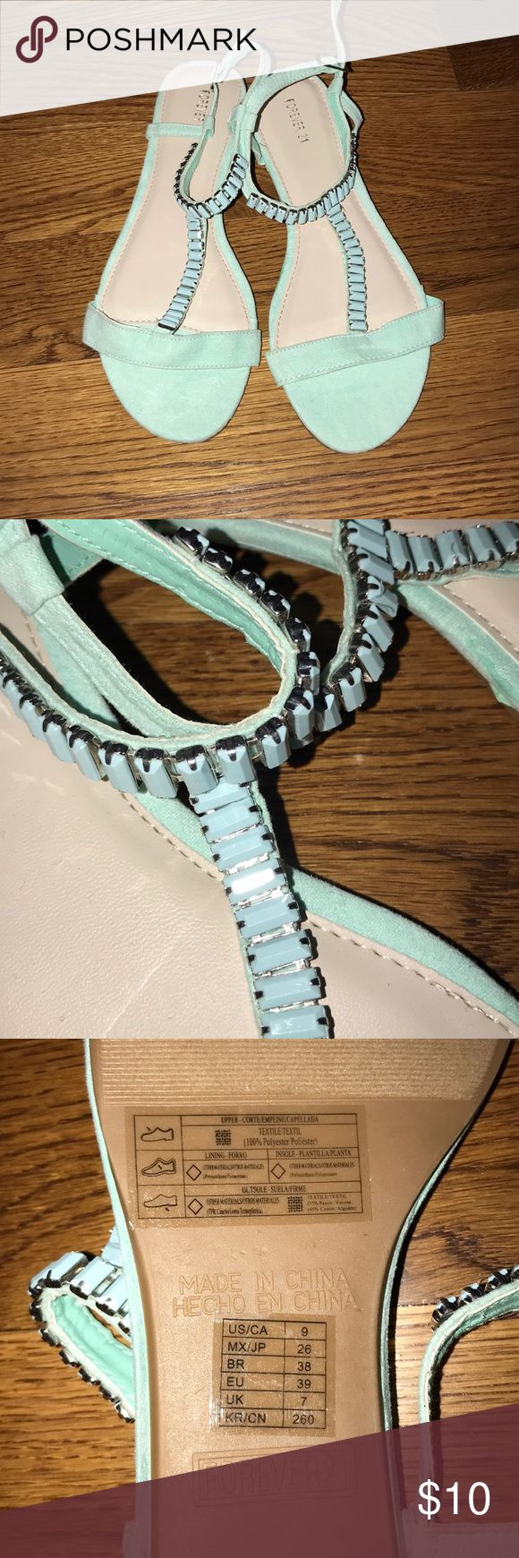Teal Sandals Teal sandals with cute jewels! Never worn but does not have price tags. Let me know if you have any questions & i'm taking offers! Forever 21 Shoes Sandals