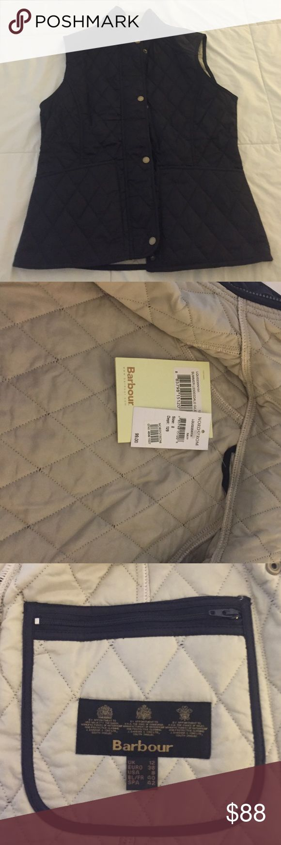 Barbour vest Barbour vest new with tags navy outside besiege inside with pockets. Size 8 Barbour Jackets & Coats Vests
