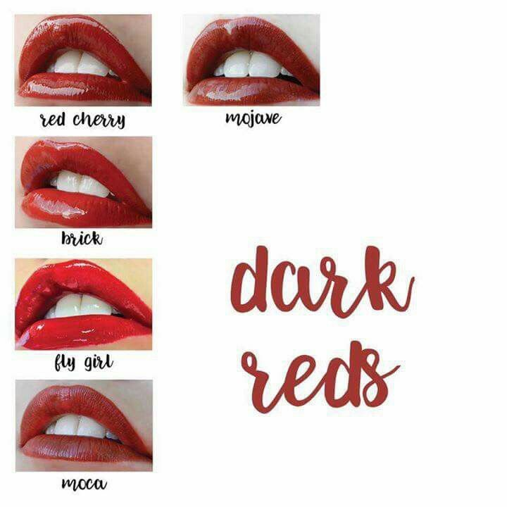 Lipsense color charts dark reds
