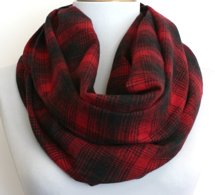 Plaid Infinity Scarf in Black and Red Flannel, Loop Scarf, Eternity Scarf, Circle Scarf. $24.00, via Etsy.
