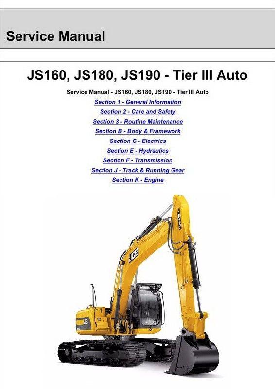 JCB JS160, JS180, JS190 Tracked Excavator Service Manual - 9803/6570