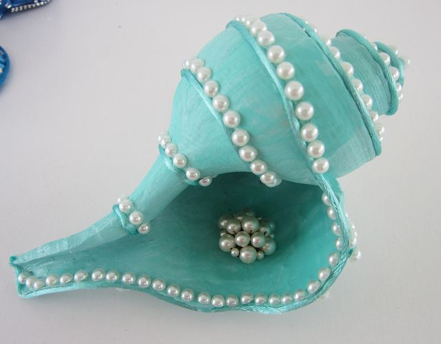 conch shell aqua and pearls by ginalimosaics, via Flickr