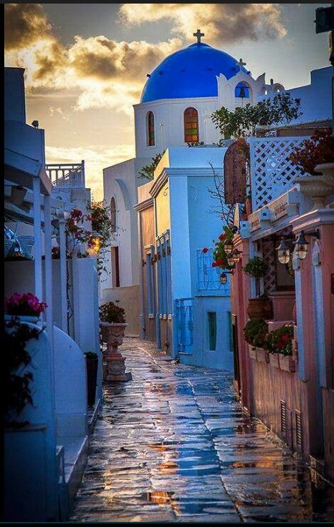 Raini day in Santorini,Greece