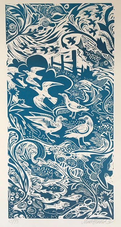 'Shoreline' by Mark Hearld  (linocut)