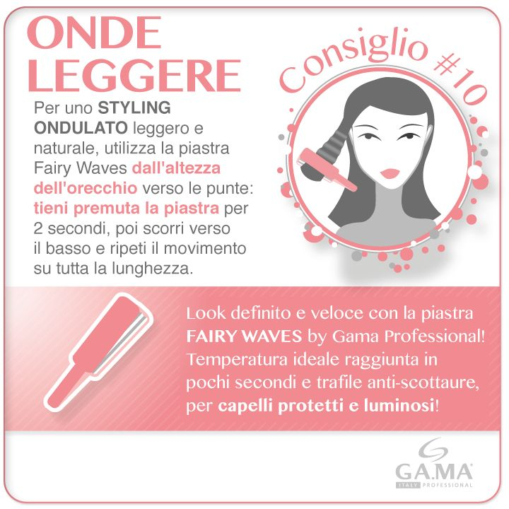 Onde da fiaba in una sola passata con la #piastra Fairy Waves, una delle novità Gama Professional per il 2014! /// Perfect waves with a single pass with Fairy Waves #hairstraightener, one of #GamaProfessional new products for 2014! #styler #piastre #hair #straightener #straighteners #hairstraighteners #styling #hairstyle #capelli #gamaconsiglia #gama #hairtips #tips #tutorial #howto #capellimossi #mossi #wavy #wavyhair #beautytechnology #haircare #gama #gamaitalia