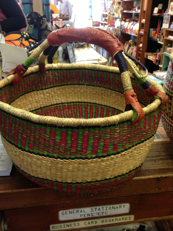 Elephant grass basket - bright colours and a great size for all your market goodies!
